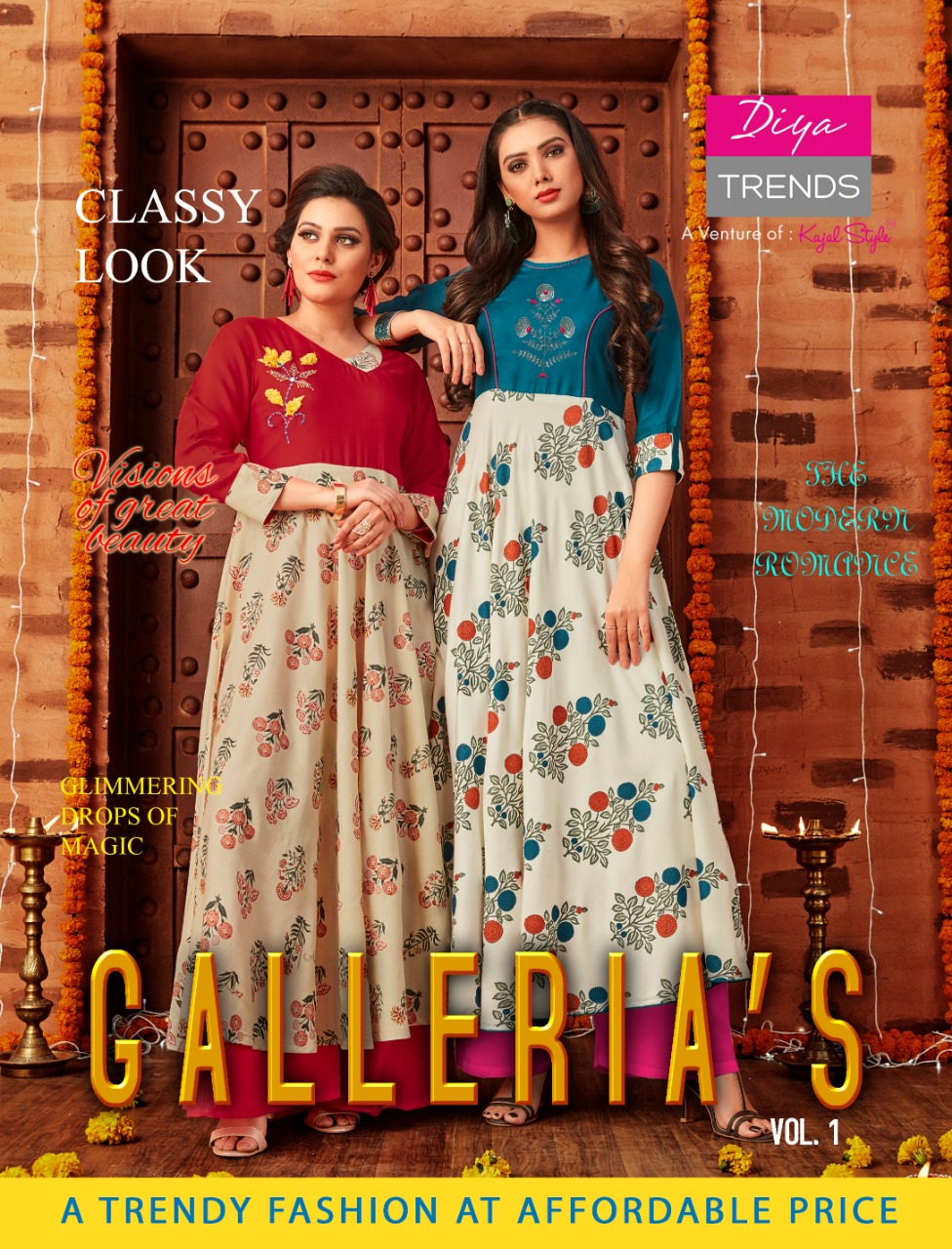 60b9d2876e6 BUY ONLINE DIYA TRENDZ GALLERIA S VOL 1 RAYON FABRIC KURTIS WHOLESALE PRICE